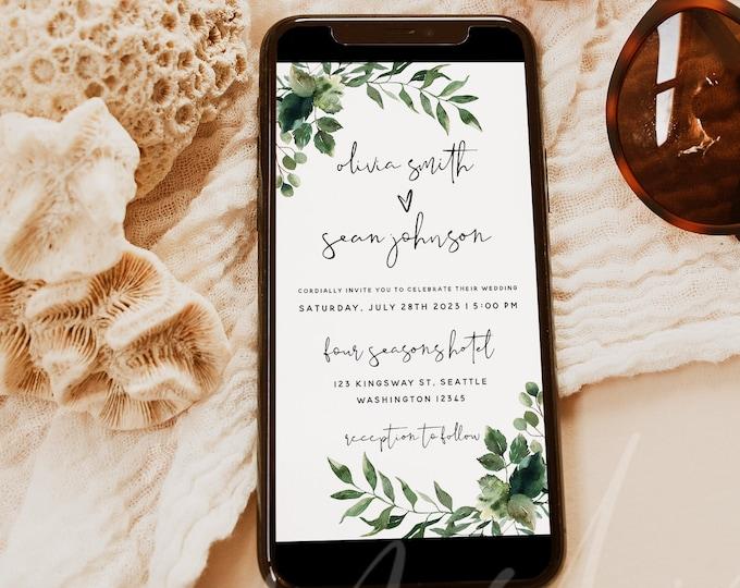 Electronic Wedding Invitation, Greenery Wedding Digital Invitation, Text Email Invitation, Wedding Invitation, Instant Download, Templett G5
