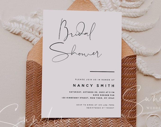 Modern Minimalist Bridal Shower Invitation Template, Printable Wedding Bridal Shower, Electronic Bridal Shower, Templett Instant Download M4