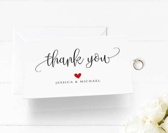 Thank You Card Template, Printable Wedding Thank You, Calligraphy, Rustic, 100% Editable Template, Instant Download, 3.5x5 Folded Card, R1