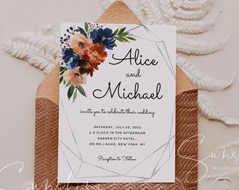 Navy & Coral Wedding Invitation Template, Printable Wedding Invitation, Editable Rustic Floral Wedding Invite, Instant Download, Templett