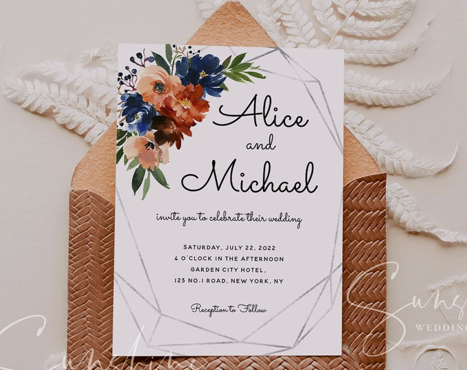 Navy & Coral Wedding Invitation Template, Printable Wedding Invitation, Editable Rustic Floral Wedding Invite, Instant Download, Templett