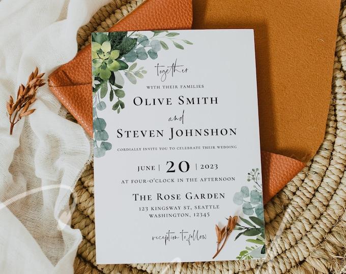 Greenery Wedding Invitation, Eucalyptus Greenery Wedding Invitation Template, Printable Greenery Invite Cards, Instant Download, Templett G3