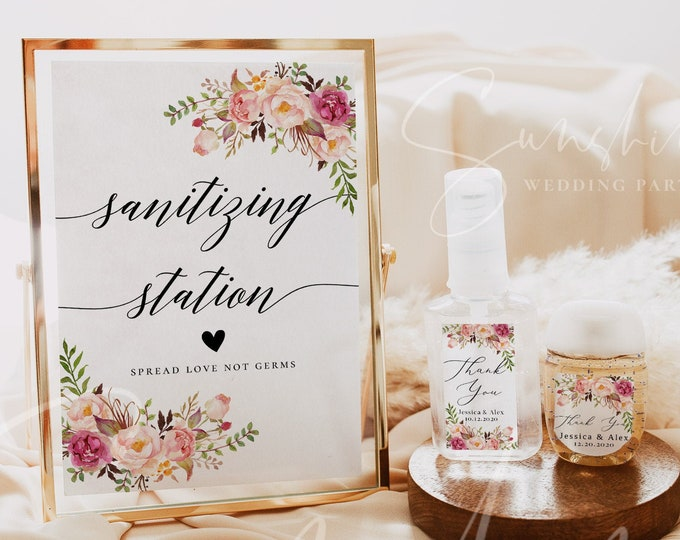 Wedding Hand Sanitizer Label Sign Kit Template, Sanitizing Station Sign, Printable Mini Hand Sanitizer Label, Instant Download, Templett, F4