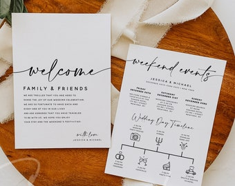Wedding Welcome Letter & Itinerary Template, Weekend Events Timeline, Minimalist Timeline, Order of Events, Instant Download, Templett, M3