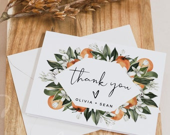 Thank You Cards Template, Citrus Wedding Thank You Cards Template, Orange Thank You Cards, Editable Template, Instant Download, Templett, C2