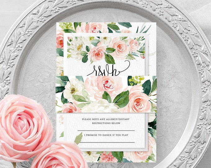 Blush White Floral Wedding Belly Band Template Printable Editable Wedding Belly Band Template Wedding Bellyband Instant Download Templett F5