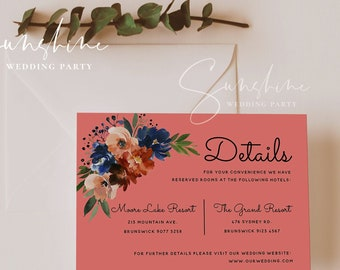Navy & Coral Wedding Details Card Template, Printable Floral Wedding Information Cards, Editable Accommodations Cards, Instant Download, F11