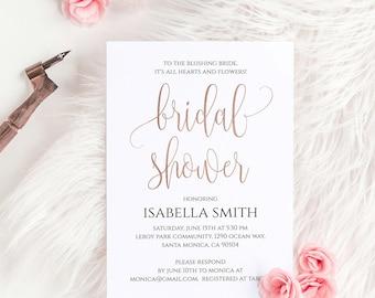 Rose Gold Foil Bridal Shower Invitation Template Printable 5x7 Bridal Shower Invitation Online Editable Printable Digital Download PDF JPEG