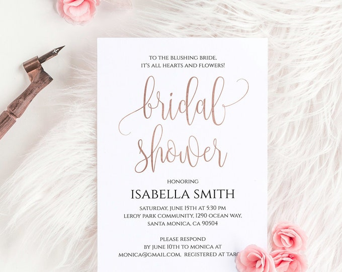 Rose Gold Foil Bridal Shower Invitation Template Printable 5x7 Bridal Shower Invitation Online Editable Printable Digital Download PDF JPEG