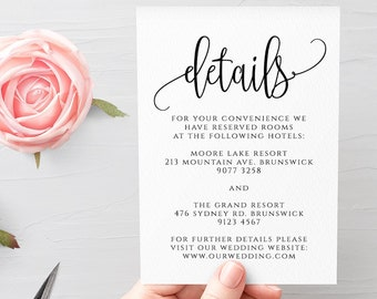Wedding Details Card Template Fully Editable Printable Wedding Information Card Wedding Accommodations Card Template Templett Calligraphy R1