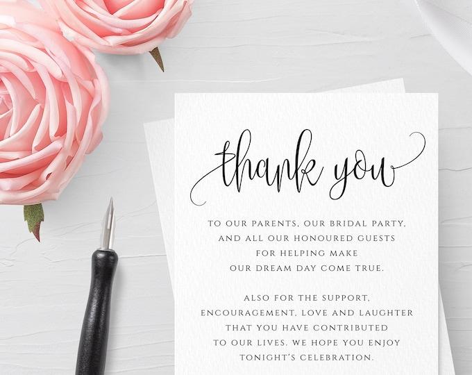 Wedding Thank You Cards Thank You Printable Editable Template Kraft Printable DIY Printable Template Instant Download Wedding Thank You R1