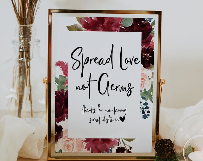 Spread Love Not Germs, Social Distance Sign Wedding, Marsala Burgundy Navy Printable Wedding Sign, Covid Wedding Signs, Instant Download, F3