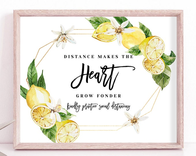Covid Social Distance Wedding Sign, Distance Makes the Heart Grow Fonder, Wedding Sign, Printable Sign, Lemon Wedding, Instant Download, L1