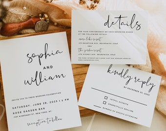 Modern Wedding Invitation Kit Template, Minimalist Wedding Invitation Suite Template, Wedding Invitation Set, Instant Download, Templett, M8