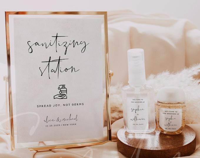 Hand Sanitizer Label Sign Kit Template, Sanitizing Station Sign, Wedding Printable Mini Hand Sanitizer Label, Instant Download, Templett, M8