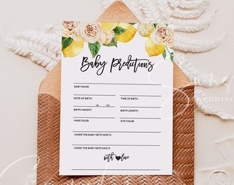 Baby Predictions Card Baby Shower Games Boy or Girl Shower Gender Neutral Printable Instant Download 100% Editable Templett Baby Shower Game