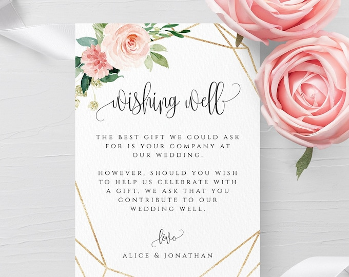 Blush White Floral Wedding Wishing Well Template Printable Wedding Wishing Well Card Template Editable Template Instant Download Templett F5