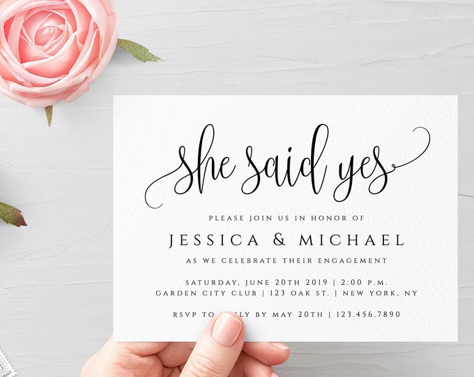 Engagement Party Invitation Template Printable Engagement Invitation She Said Yes Engagement Invite Editable Invitation Template Templett R1