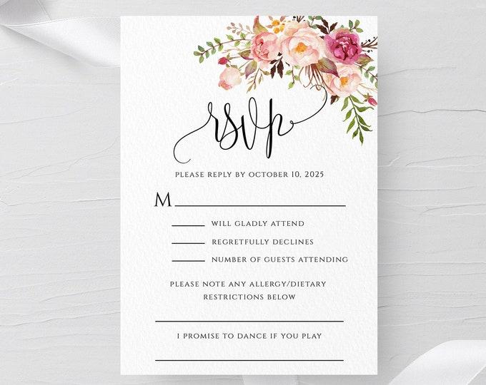 Marsala Wedding RSVP Template, Floral Wedding RSVP Template, Printable Wedding RSVP, 100% Editable Text, Instant Download, Templett, F4
