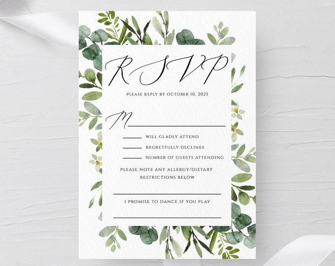 Greenery Wedding PSVP Template, Eucalyptus RSVP, 100% Editable Text, Printable Wedding RSVP Template, Wreath, Templett, Instant Download, G3