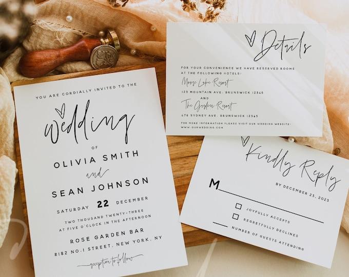 Modern Wedding Invitation Kit Template, Minimalist Wedding Invitation Suite Template, Wedding Invitation Set, Instant Download, Templett, M7