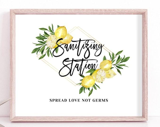 Sanitizing Station Sign, Covid Wedding Sign, Hand Sanitizer Sign, Printable Covid Sign, Covid Wedding, Lemon Wedding, Instant Download, L1