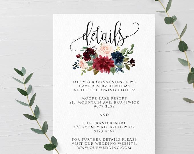 Marsala Burgundy Navy Wedding Invitation Details Template Printable Editable Wedding Details Template Instant Download Templett PDF JPEG F3