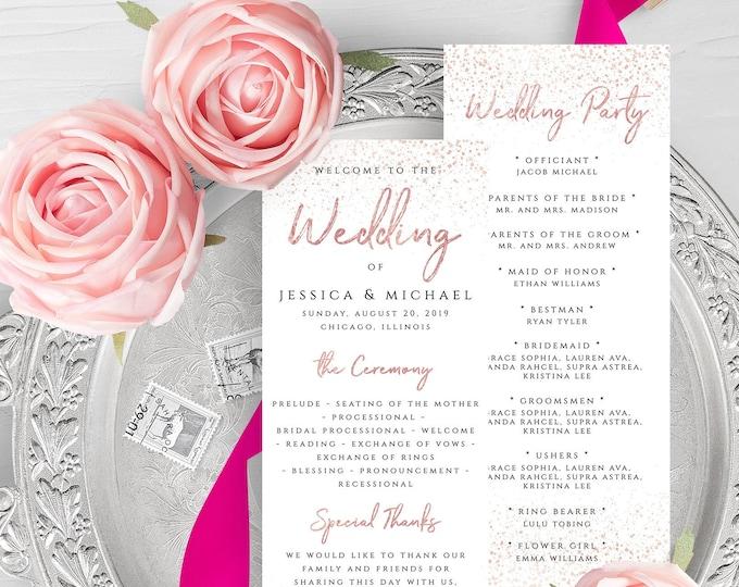 Rose Gold Wedding Program Template Printable Flat Program Template Printable Editable Wedding Program Rose Gold Templett Instant Download M1
