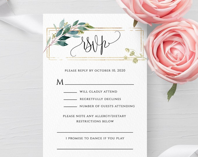 Wedding RSVP Template Greenery Gold Frame Printable RSVP Editable Wedding Invitation RSVP Template Kindly Reply Instant Download Templett F5