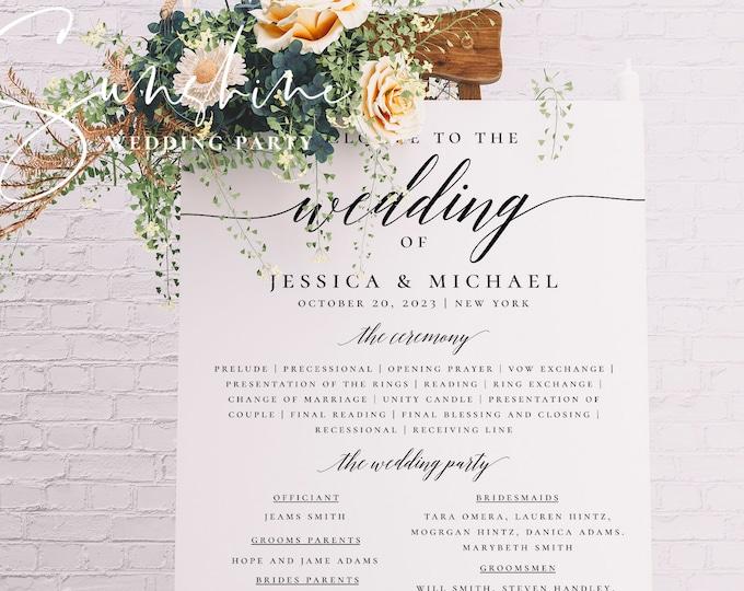 Modern Wedding Program Poster, Wedding Program Board Template Download, Editable Wedding Poster, Printable Ceremony Program, Templett, R2