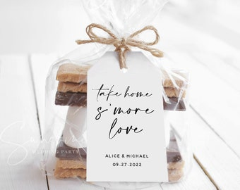 S'more Love Tag Template, Printable Wedding Favor tags template, S'more love tags, Modern Wedding Favor Tags, Instant Download, Templett, M3