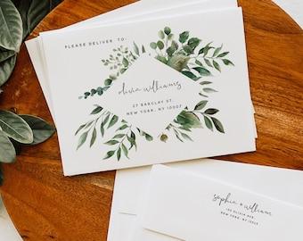 Greenery Wedding Envelope Template, DIY Wedding A7 A6 A1 Envelope Printable Envelope Editable Envelope Template Instant Download Templett G5