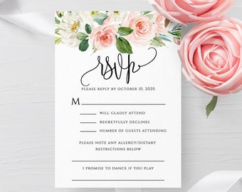 Blush White Floral Wedding RSVP Template Printable Editable Wedding Invitation RSVP Template Kindly Reply Instant Download Templett PDF F5