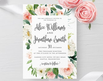 Blush White Floral Wedding Invitation Template Printable Wedding Invitation Template Editable Wedding Template Templett Instant Download F5