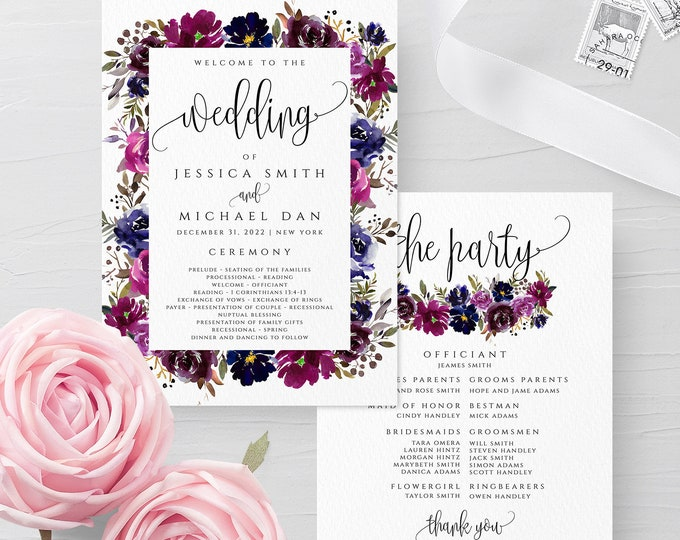Blue & Purple Wedding Program Template, Floral Printable Program Cards, Editable Rustic Program Templates, Instant Download, Templett, F9