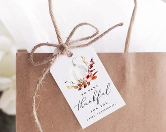 Printable Thanksgiving Favor Tag Template, Friendsgiving Favor Tag, Thanksgiving Gift Tag, Thankful For You Label, Favor Label, Templett, TG