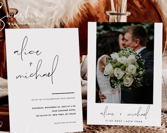 Modern Minimalist Wedding Invitation Template, Wedding Photo Invitation, Printable Invitation, Editable Invite, Instant Download Templett M4