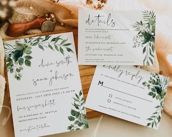 Greenery Wedding Invitation Kit Template, Greenery Wedding Invitation Suite, Invitation Set, RSVP Details Card, Instant Download Templett G5