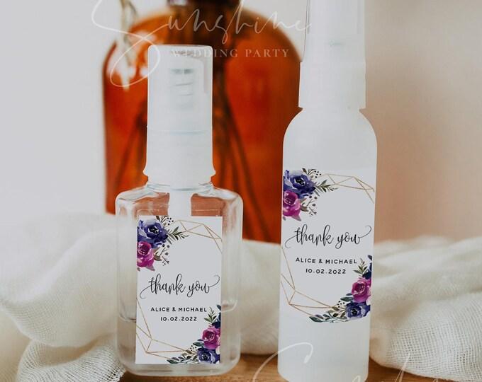 Wedding Hand Sanitizer Label, Marsala Blue & Purple Wedding Label, Printable Mini Hand Sanitizer Favor, Editable Label, Instant Download, F9