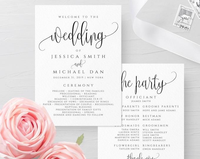 Wedding Program Template Ceremony Program Template INSTANT DOWNLOAD Fully Editable Printable Ceremony Program Kraft Program DIY Templett R1