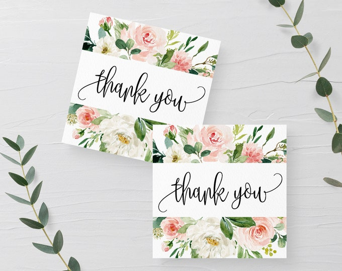 Wedding Thank You Tag Template Blush Floral Editable Printable Wedding Thank You Tag White Flower Tag Template Templett Instant Download F5