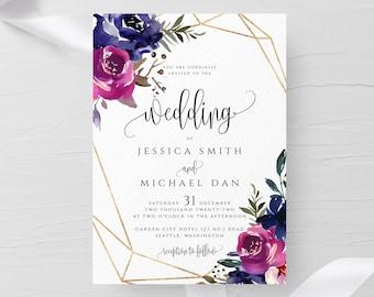 Blue & Purple Wedding Invitation Template Printable Editable Wedding Invitation Template Templett Wedding Invitation Instant Download F9
