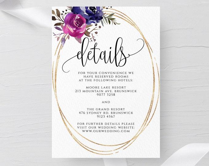 Blue & Purple Wedding Details Template Printable Details Card Editable Wedding Details Template Templett Wedding Details Instant Download F9