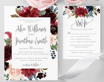Marsala Burgundy Navy Wedding Invitation Template Printable Fully Editable Wedding Invitation Template Instant Download Templett PDF JPEG F3