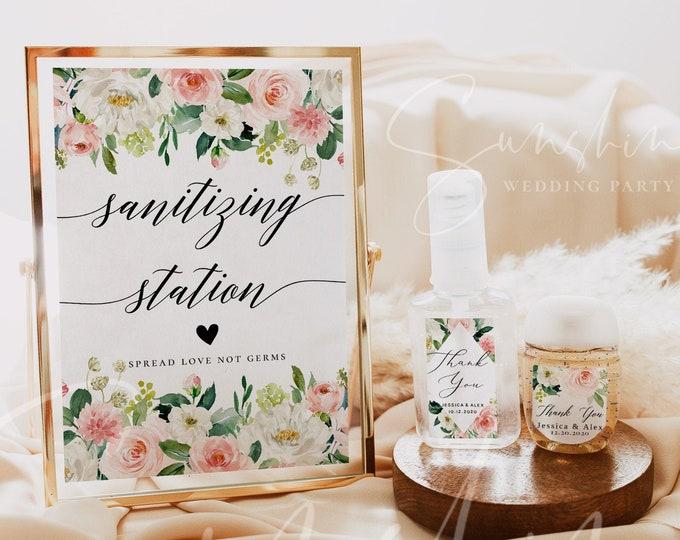 Wedding Hand Sanitizer Label Sign Kit Template, Sanitizing Station Sign, Printable Mini Hand Sanitizer Label, Instant Download, Templett, F5