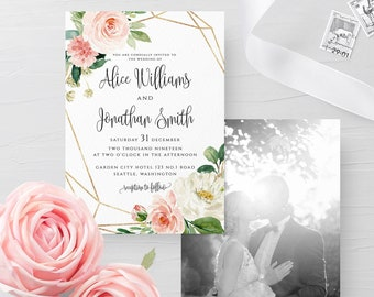 Blush White Floral Wedding Photo Invitation Template Photo Printable Template Editable Wedding Photo Invitation Instant Download Templett F5
