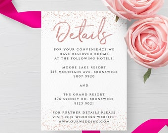 Rose Gold Wedding Details Card Template Editable Printable Wedding Information Card Wedding Accommodations Card Instant Download Templett M1