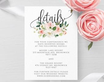 Blush White Floral Wedding Invitation Details Template Printable Editable Wedding Details Template Instant Download Templett PDF JPEG F5