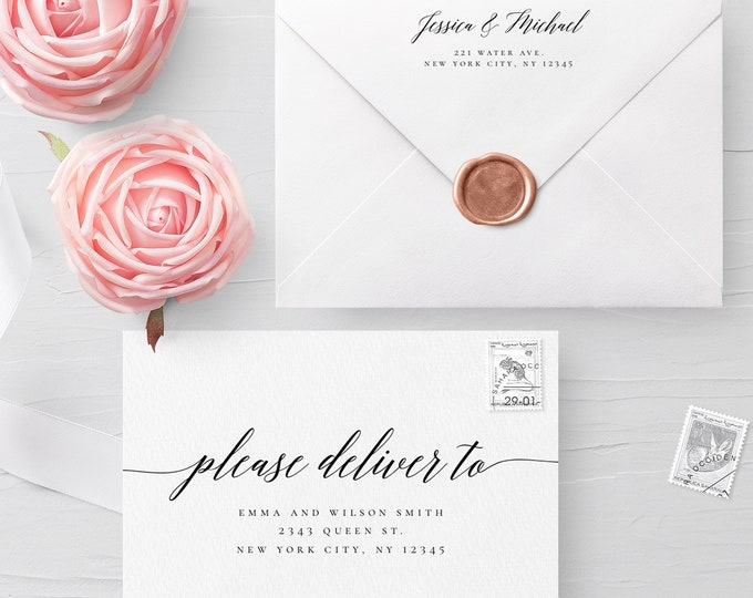 Calligraphy Envelope Template Wedding Editable DIY Printable Wedding Envelope A7 A6 Envelope Address Template Instant Download Templett R2