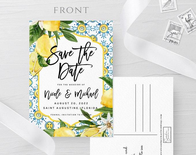 Postcard Save the Date Template, DIY Lemon Blue Wedding Save the Date Card, DIY Wedding, Printable, Editable, Instant Download, Templett, L1